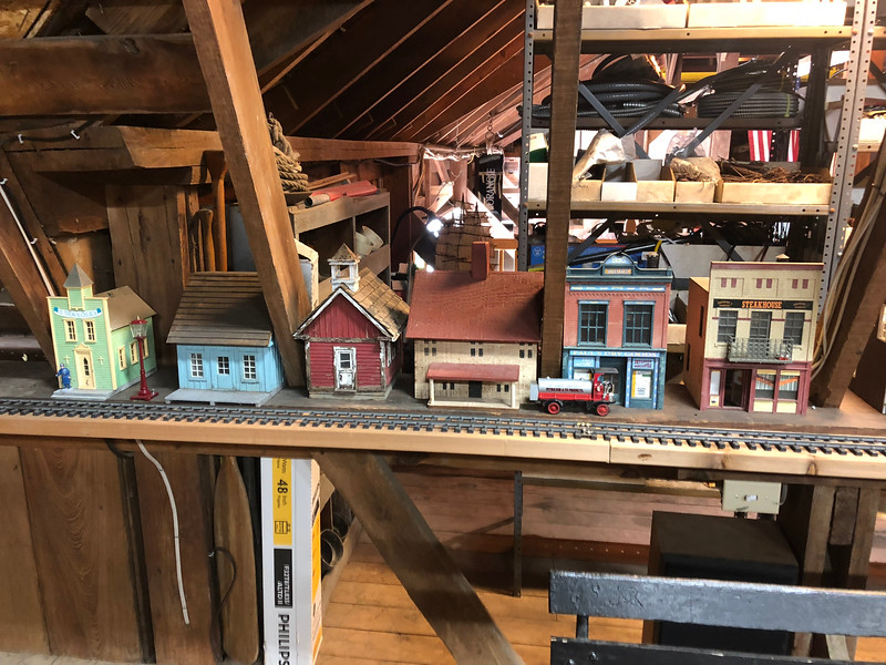 Model trains & village in the barn